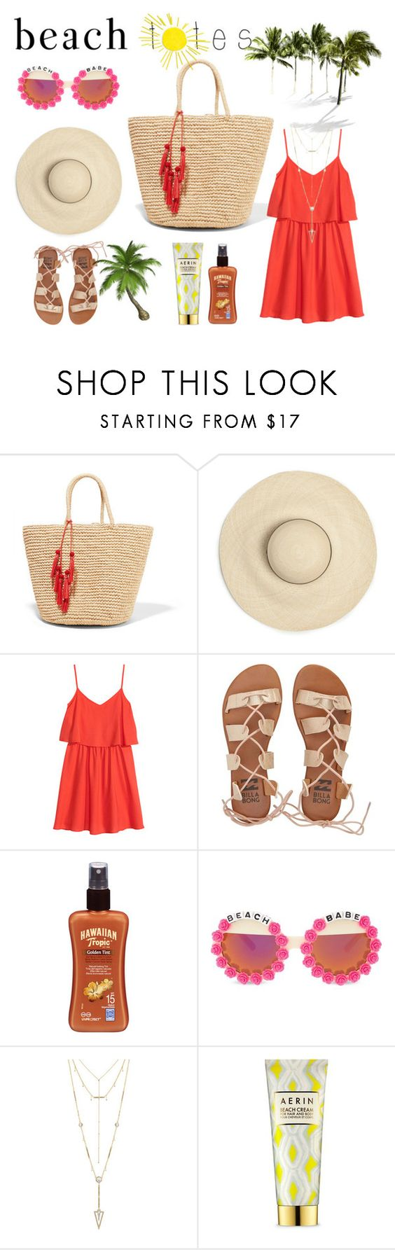 """""""Under the sun"""" by quynhanhchu ❤ liked on Polyvore featuring Sensi Studio, H&M, Billabong, Hawaiian Tropic, Rad+Refined, House of Harlow 1960, AERIN, red, flowersunglasses and beachtotes"""