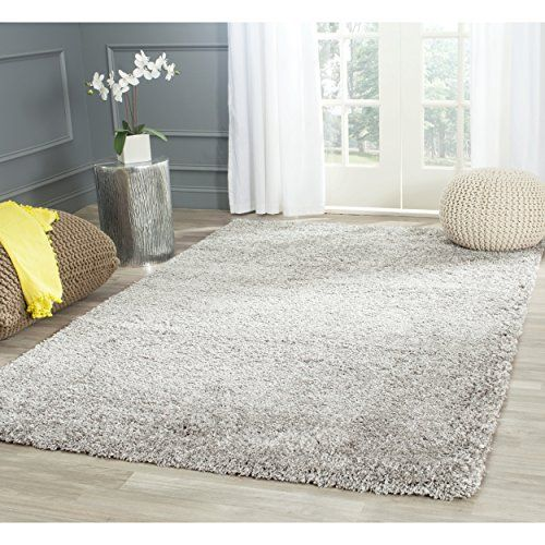 safavieh california shag collection sg151 7575 silver area rug 8 feet by 10 feet california shag black 4 ft