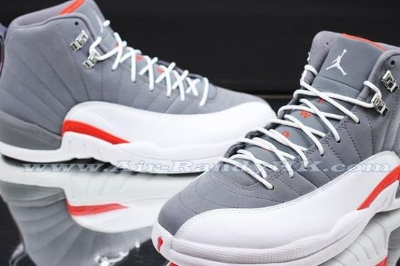The Air Jordan 12 gets the Cool Grey treatment. The Team Orange accents are questionable to me.