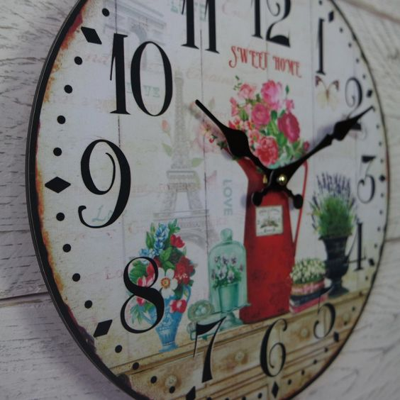 Shabby Rustic Vintage Chic Round Wooden Cream Pink Rose SWEET HOME Wall Clock | eBay