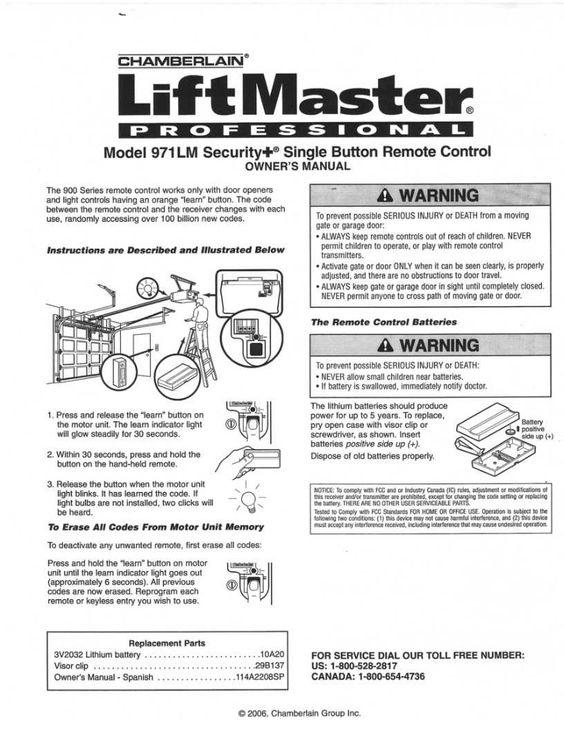 liftmaster 971lm garage door opener remote instructions