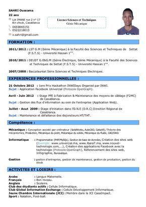 Cv Model En Francais Cv Words Standard Cv Format Standard Cv