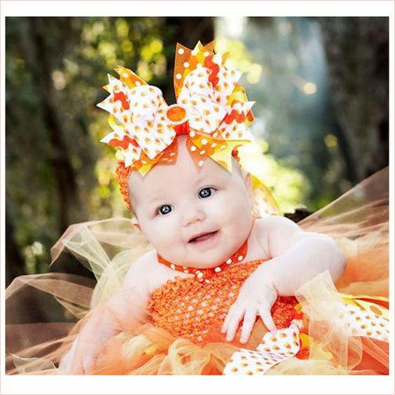 Candy Corn and Polka Dots Couture Tutu Dress | Halloween Couture Tutu #halloweentutu #cutebabyhalloween