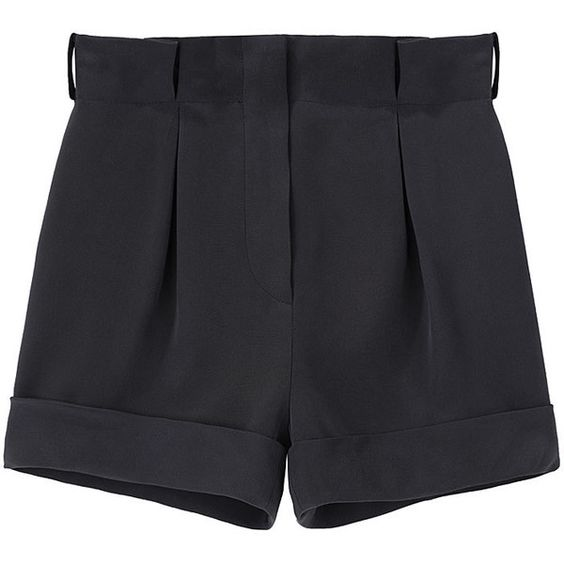 Cacharel Cuffed Silk Shorts. ($248) ❤ liked on Polyvore featuring shorts, bottoms, pants, short, women, black high waisted shorts, high waisted short shorts, slim shorts, highwaist shorts and black silk shorts