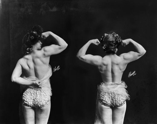 Circus strongwomen, 1904. F. W. Glasier's Circus Photographs. by margery