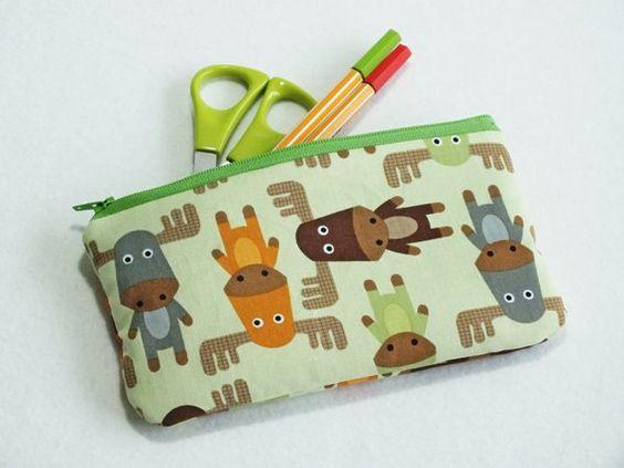 Moose - cute. pen pencil / cosmetics case moose, elk, cotton, zipper, size about 19x10 cm on Etsy, 96,15kr