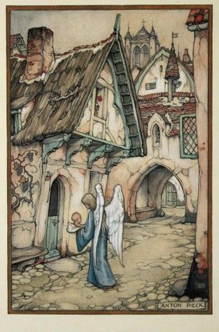 Birth Announcement with angel delivering baby to front door - vintage