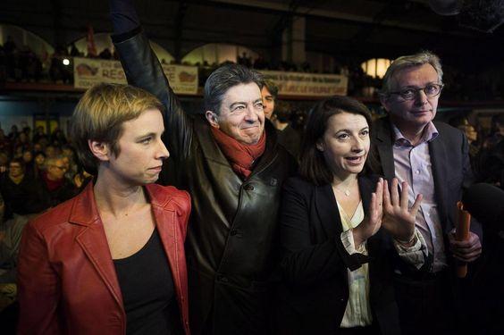 Clémentine Autain (FDG), Jean-Luc Mélenchon (FDG), Cécile Duflot (EE-LV) et Pierre Laurent (PCF),  le19janvier2015 à Paris.