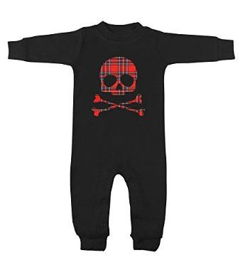 Red Plaid Skull & Crossbones Black Long Sleeve Romper Punk Baby Rocks