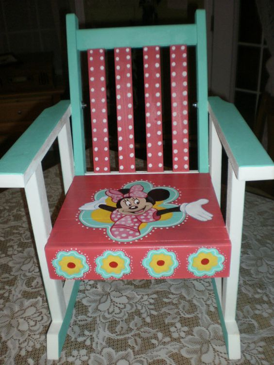 Hand Painted Rocking Chair Minnie Mouse Chair By