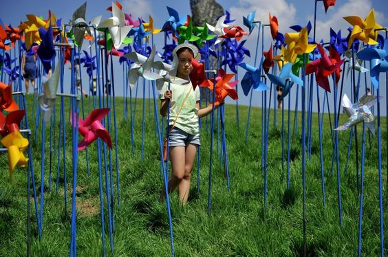 Windräder in Friedenspark an Grenze Nordkorea Südkorea - SPIEGEL ONLINE