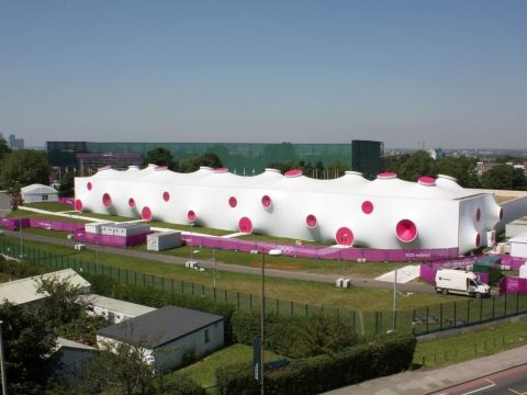Award of Excellence Tent Manufacturing and Design The London 2012 Games Shooting Ranges Base Structures Ltd - Fabric: Serge Ferrari Précontraint 1002 S2 NPP composite materials. http://en.sergeferrari.com/lightweight-architecture/royal-artillery-barracks-avant-garde-design-temporary-structures/