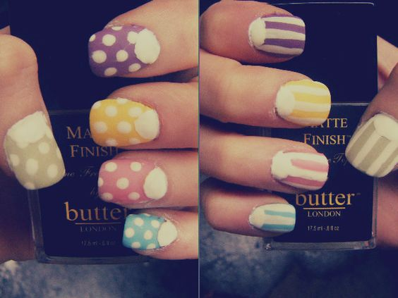 Easter Half Moon Mix w/ Butter London Bossy Boots, Scoundrel, Cheeky Chops, Pink Ribbon & lightened Blagger