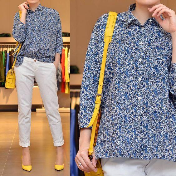 «Играем в модную игру по правилам: блузу и брюки пастельных оттенков сочетаем аксессуарами самого жизнерадостного цвета. Рубашка, брюки #fay  Сумка…»
