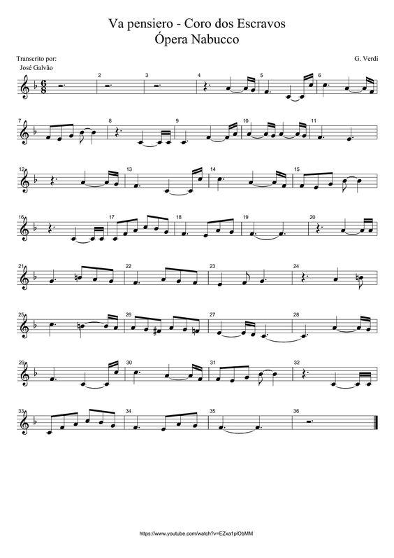 Va pensiero - Coro dos escravos - Verdi - Pauta sem legenda
