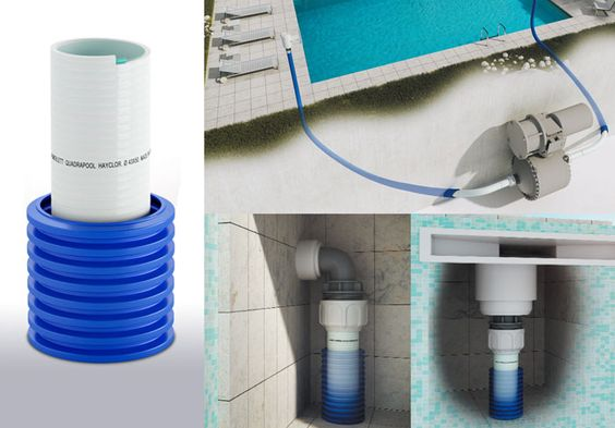 EPHS - Pool pipes preinserted into a corrugated protection hose that allows an easier installation, inspection and possible substitution of the internal duct. They are designed for pool recirculation, both suction and delivery. The main hose is made from rigid and plasticized PVC with a substrate in thermoplastic rigid material. They are resistant to chloride (up to 10000 ppm), mould (ASTM G21 compliant), fungi, algae and bacteria.