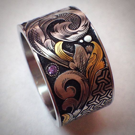 Hand engraved with 24k inlay gold silver ring engraved gem