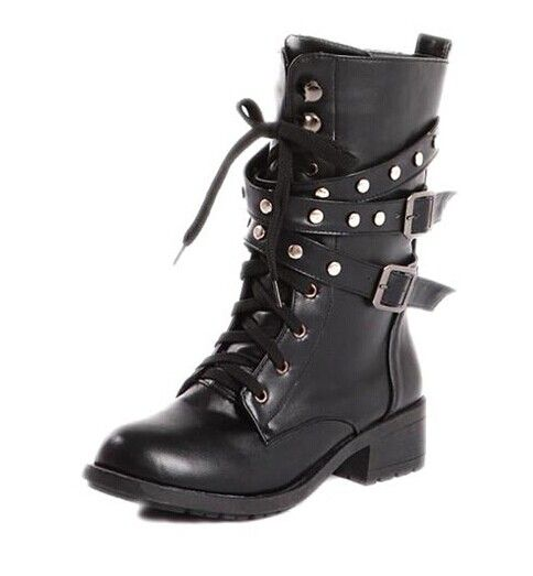 Cool Women's Black Studded Combat Boots With Lace-Up Design Color ...
