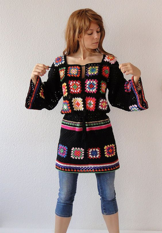 Crochet dress tunic hippie gypsy jumper sweater patchwork retro glamour-flower power vintage look-handmade crochet design- made to order