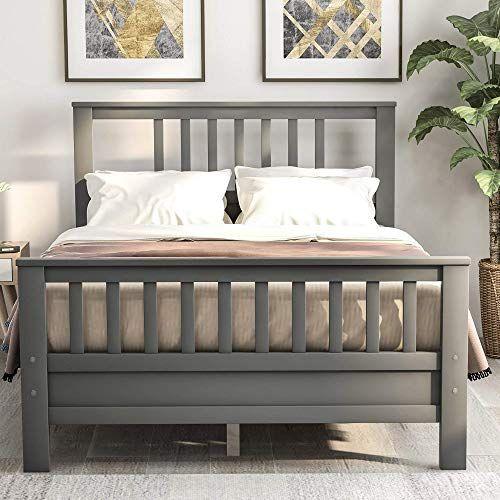 Buy Julyfox Grey Bed Frame Full 500lb Heavy Duty Hard Wood