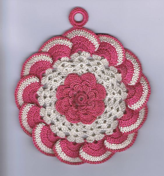 Ravelry: Raised Rose Potholder pattern by Adapted by Hazel Cooper