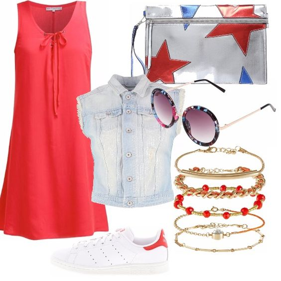 Un outfit comdo per una giornata da passare al centro commerciale insieme ad una amica. Un vestito pratico ma con un tocco di colore, con abbinate delle sneaker comode per camminare.