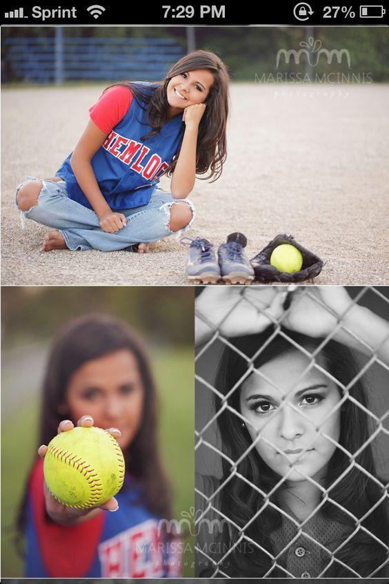 Poses for softball senior photos. Top one