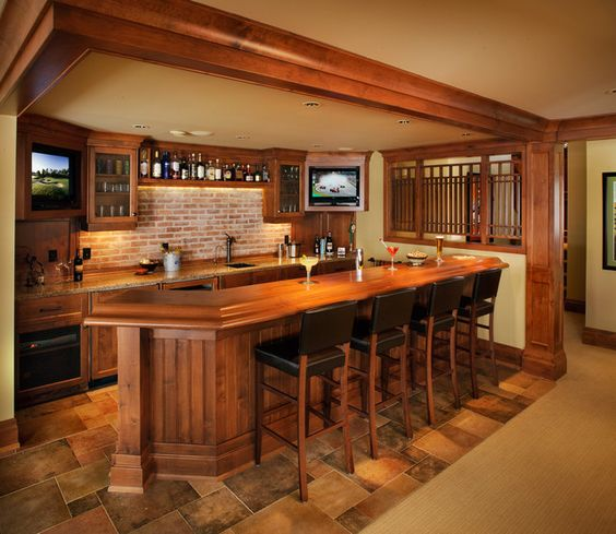 Wet Bar Ideas Gallery: Faux Stone Is Perfect For Basement Remodel. Make An Accent