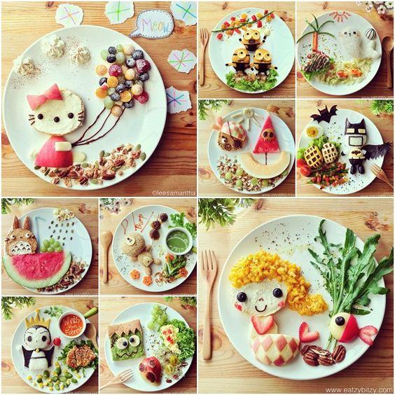 ╰☆╮ Creative Food Art on Cartoon Display tutorial and instruction.   *.♡♥♡♥Love★it