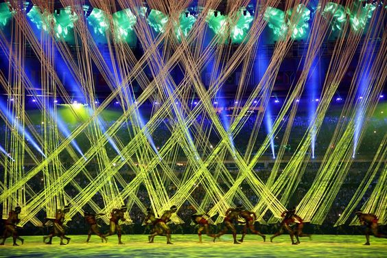 Dancers perform during the Opening Ceremony of the Rio 2016 Olympic Games at the…