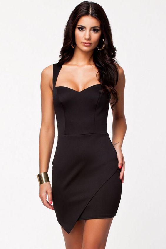 Black Soft Padded Bodycon Dress with Wrap Front Hem