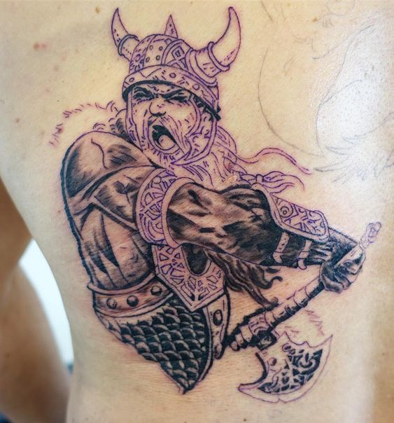 Viking Donning a Horned Helmet tattoo