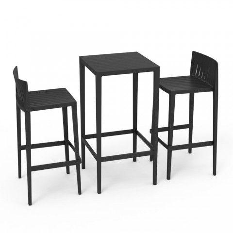 Vondom Spritz Gartensmobel Set Tisch Und 2 Hocker In Schwarzer Farbe Design Hocker Hocker Tisch