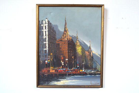 Original Oil Painting Cityscape by Johaan Rupert GalaxieModern