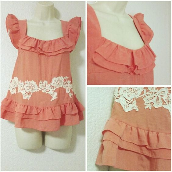 """⭐ Adorable ruffle lace top LOVE everything about this top! anthropologie. 2 (L:24"""" B:18"""") #65 Anthropologie Tops"""