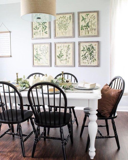 White Farm Table With Black Windsor Chairs Farmhouse Dining Room Table Farmhouse Dining Room Farmhouse Dining Table