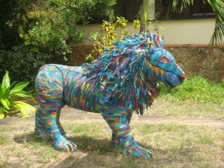 King Simba, by Andrew McNaughton, made from recycled flip-flops