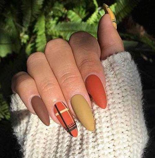 Burnt Orange And Other Fall Colors In 2020 Fall Acrylic Nails Plaid Nails Nail Designs