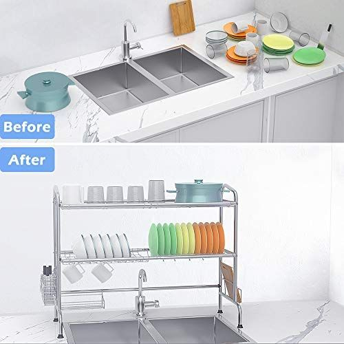 Over Sink Dish Drying Rack Ibesi 2 Tier Stainless Steel Stable