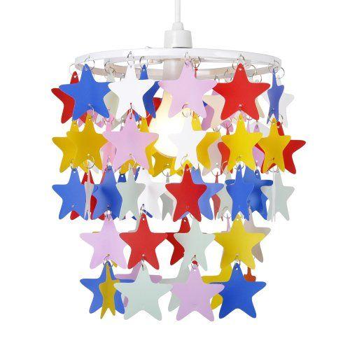 Childrens Light Shades Ceiling: Children's Bedroom/Nursery Multi Coloured Stars Ceiling