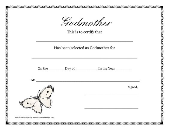 Certificate Templates Godmothers And Free Printable On