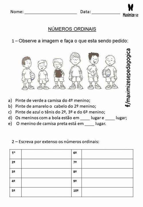 Numeros Ordinais Com Imagens Atividades De Matematica Numeros
