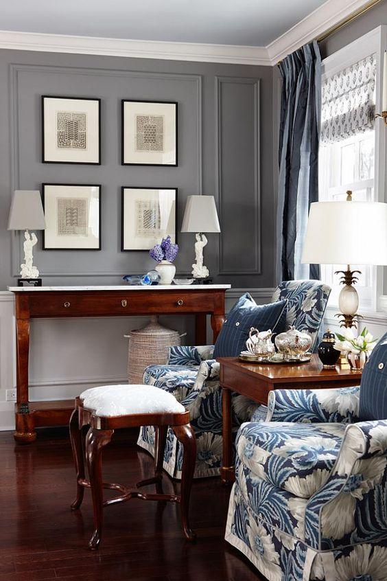 Sarah richardson sarah 101 grey blue bedroom floral chairs for Sarah richardson bedroom designs
