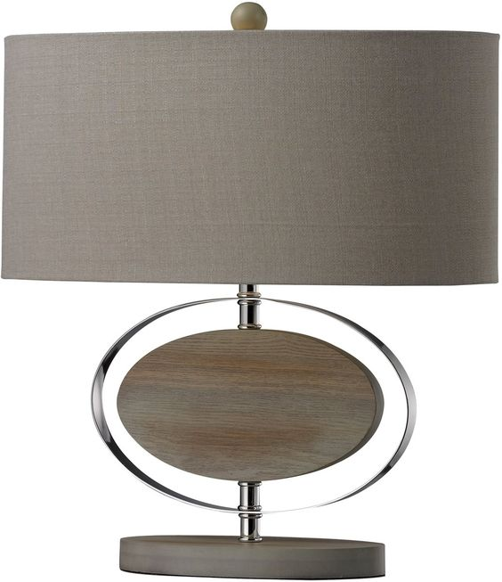 0 018385 Hereford 1 Light Table Lamp Bleached Wood With Chrom Chrome Table Lamp Wood And Metal Table Metal Table Lamps
