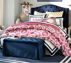 Preppy Pink gold and navy bedding