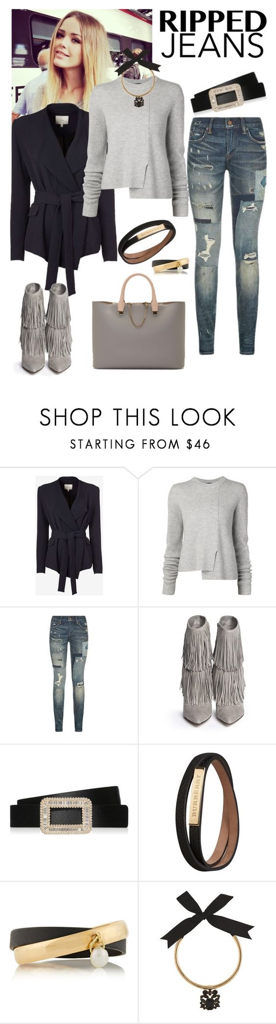 """DOH Style 'Style This Trend: Ripped Jeans II'"" by dohinstyle ❤ liked on Polyvore featuring IRO, Proenza Schouler, Polo Ralph Lauren, Sam Edelman, Roger Vivier, Burberry, Inez & Vinoodh, Coast and Chloé"
