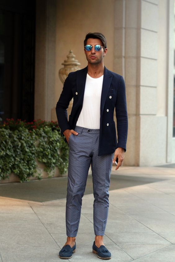 Blue Suede Tassel Loafers, and Navy Knit Cotton Blazer. Men's Spring Summer Fashion.