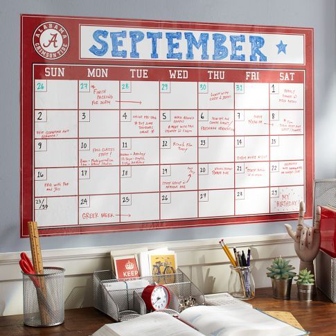 PBteen Collegiate Dry Erase Calendar: Show your school spirit with these college white board calendars #17college