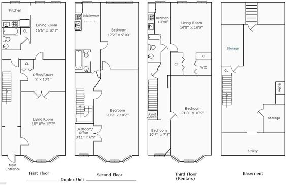 House plans the o 39 jays and search on pinterest for Narrow row house floor plans