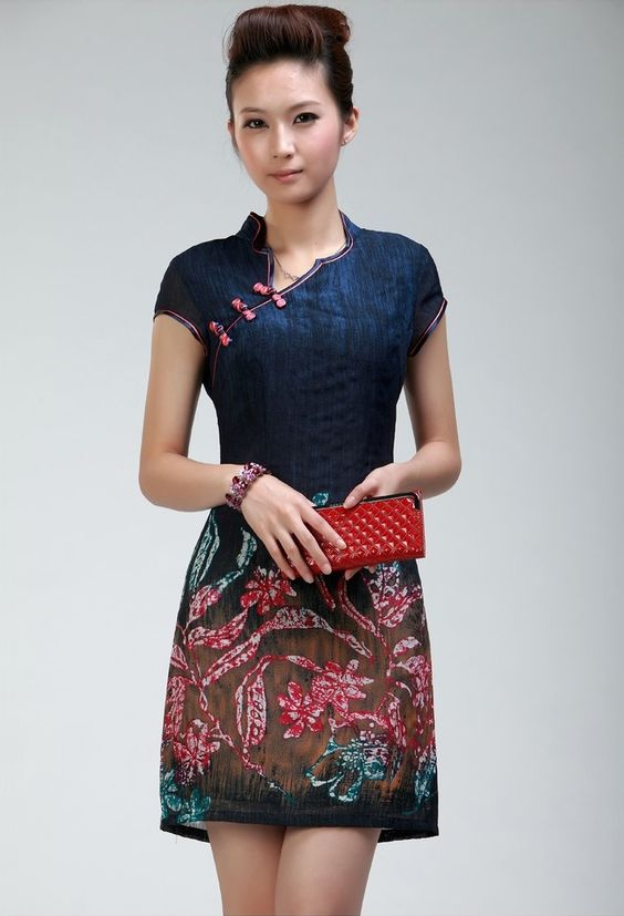 Sexy Blue Natural Linen Floral Mini Fashion Cheongsam